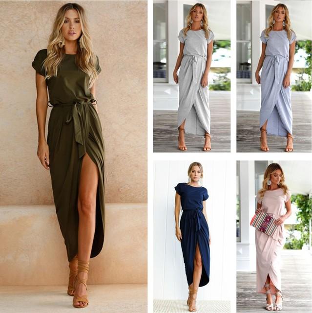 a62790dcb5a8 Belva Femmes de Longue Maxi Robe Bohème Jupe Fendue Ceinture Robes de  Demoiselle D honneur