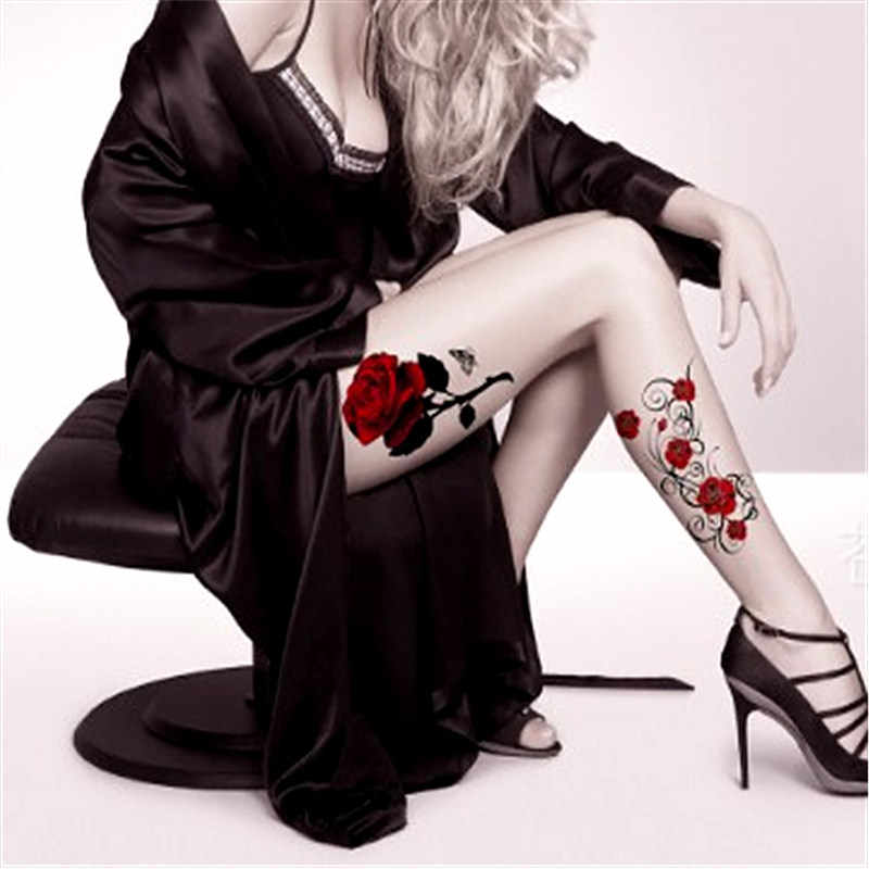 Hot Sexy Red color rose flower Body Art Waterproof Temporary Sexy   Back Shoulder thigh tattoos Woman Tattoo Stickers Fake Tatoo