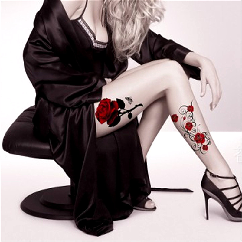 Hot <font><b>Sexy</b></font> Red color rose flower <font><b>Body</b></font> Art Waterproof Temporary <font><b>Sexy</b></font> Back Shoulder thigh tattoos Woman Tattoo <font><b>Stickers</b></font> Fake Tatoo image