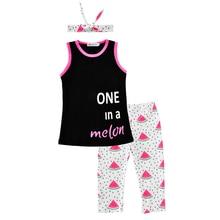 Moonlight Baby Girl Clothing Set 3pcs 2017 New Summer Letter Sleeveless T shirt Watermelon Pants Headband