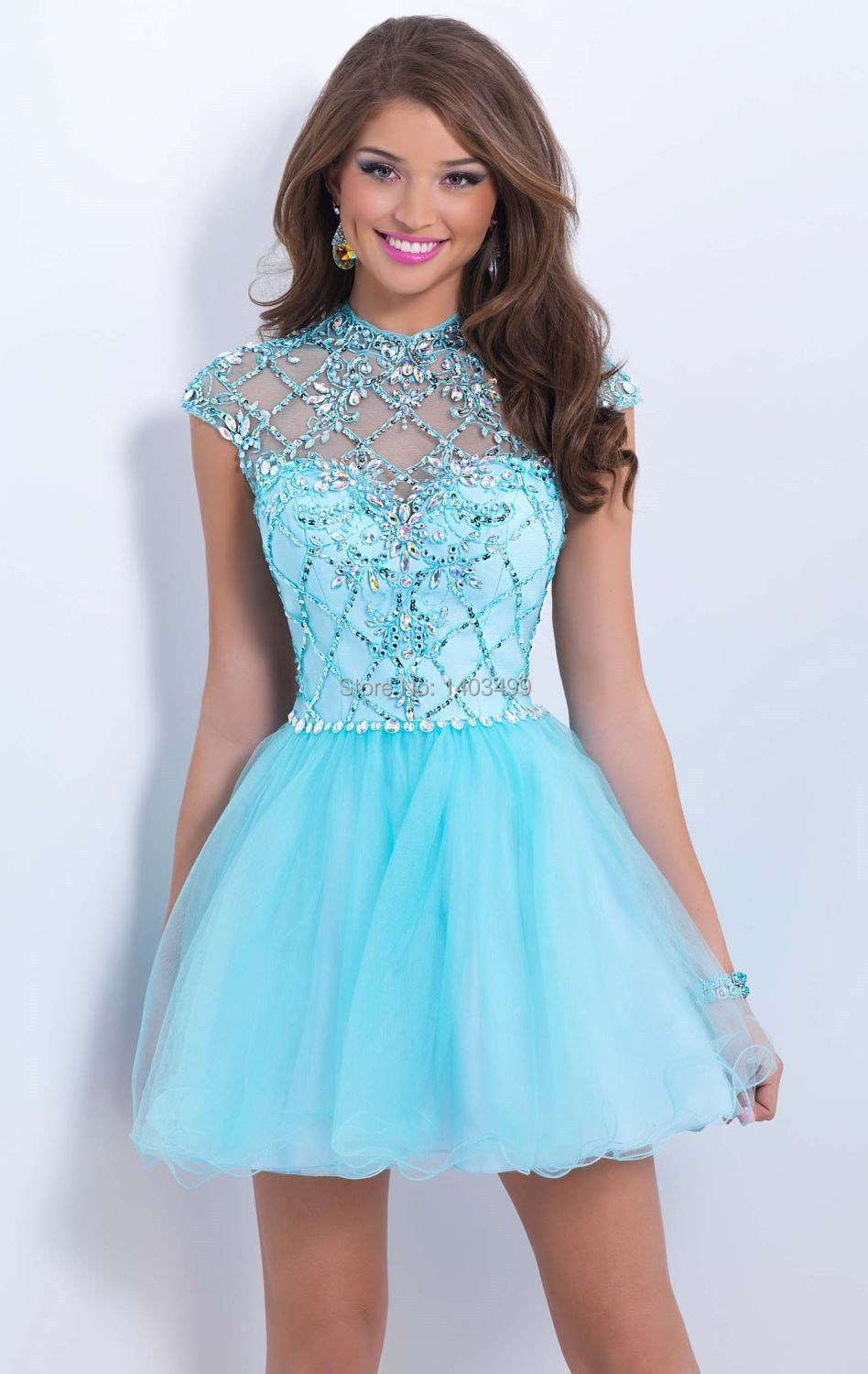 Hot 2014 Short Tulle Prom Dress Open Back Crystal Beaded Cap Sleeve ...