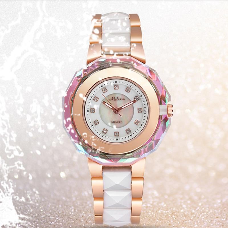 Melissa Luxury Jewelry Watches for Women Gorgeous Crystal Frame Ceramic Watch Japan Quartz Bracelet Wrist watch Analog Montre fashionable analog quartz bracelet watch for women purple silver 1 x lr626