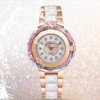 Melissa Luxury Jewelry Watches for Women Gorgeous Crystal Frame Ceramic Watch Japan Quartz Bracelet Wrist watch Analog Montre