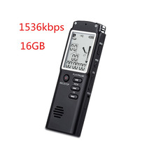 16GB Professional Digital Audio Voice Recorder with Real Time Display A Key lock Screen Telephone Recording MP3 Player