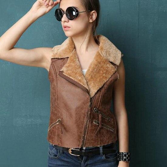 New Autumn Winter Women European style Faux Suede Fur Vest Female Sleeveless Leather Jacket Coat Streetwear Black Blue Brown