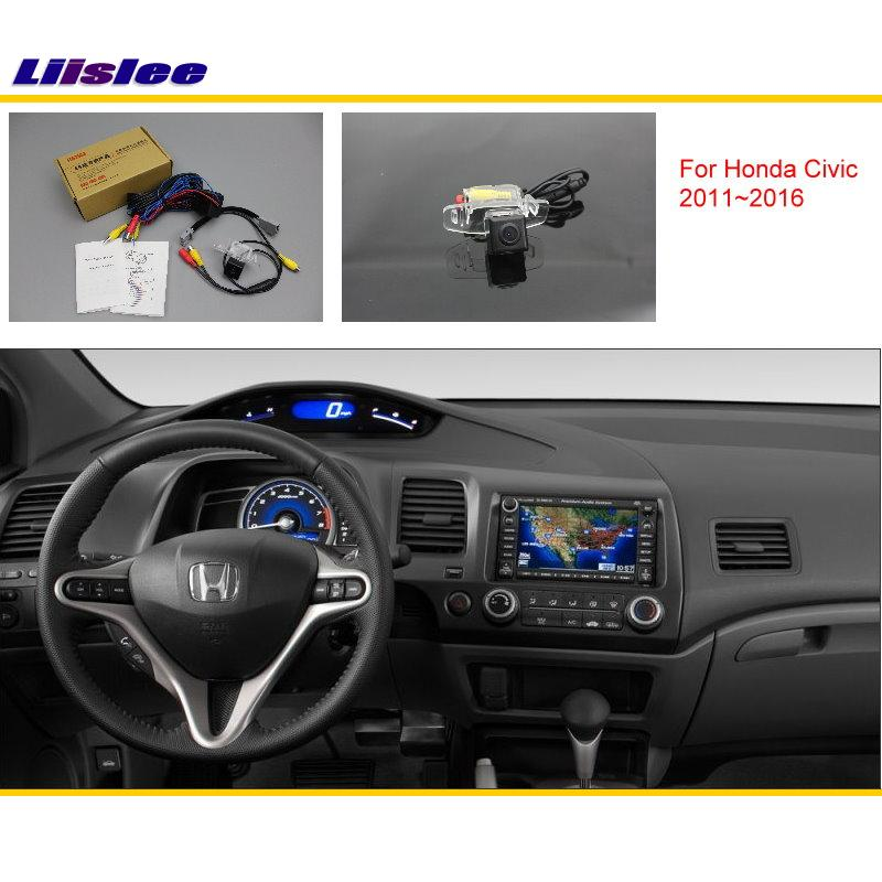 Liislee For Honda Civic (FB) 2011 ~ 2016 მანქანის უკანა ხედვის უკანა კამერის კომპლექტები / RCA და ორიგინალური ეკრანი თავსებადი / პარკინგის კამერა