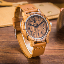 Фотография LeeEv EV1875 Mens Handmade 100% Cow Hide Genuine Leather Strap Bamboo and Sandalwood with Quartz Movement Analog Wood Watch
