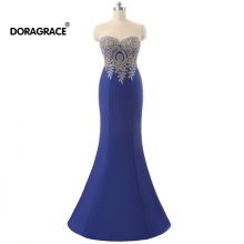 Doragrace robe de soiree Real Photos Applique Sleeveless Mermaid Evening Dresses Royal Blue Prom Gowns