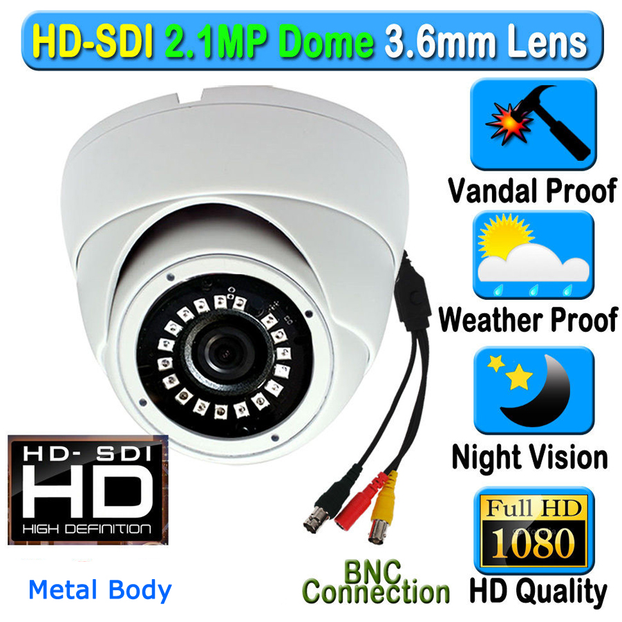 CCTV 2MP CMOS HD Panasonic 1080P Waterproof Outdoor Indoor Dome SDI Security Camera 3.6mm 3MP Lens 18pcs IR Array LED Metal Case 1 3mp single array leds c mount sony 600tvl lens ir cctv ccd hd waterproof camera