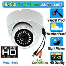 Caméra de sécurité dôme intérieur et extérieur SDI CCTV 2MP CMOS HD 1080P étanche, lentille 3.6mm 3mp, 18 pièces, gamme LED IR, boîtier métallique