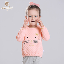 Simyke Girls Thick Top With Long Sleeve 2017New Autumn Children's Cartoon Pattern Tee Kids Tee  For Toddler Cloth W3355