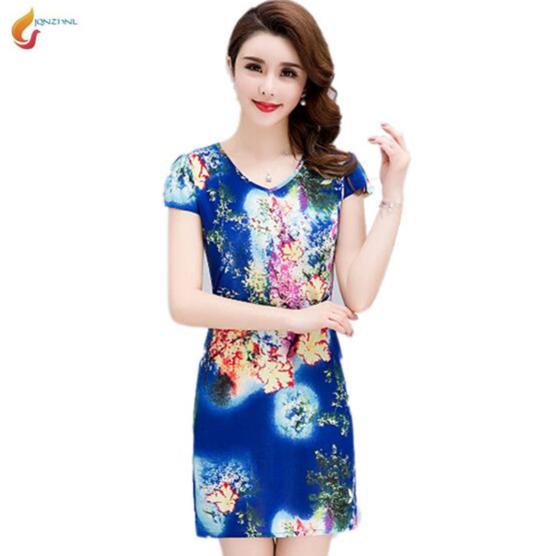 e31aa3f06bb8f Women Summer Short sleeve dresses Slim Tunic Milk Silk print Floral plus  size vestido feminino loose casual Short dresses G633