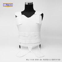 Militech White NIJ IIIA 3A and Level 2 Stab Concealable Twaron Aramid Bulletproof Vest Covert Ballistic Bullet Proof Vest