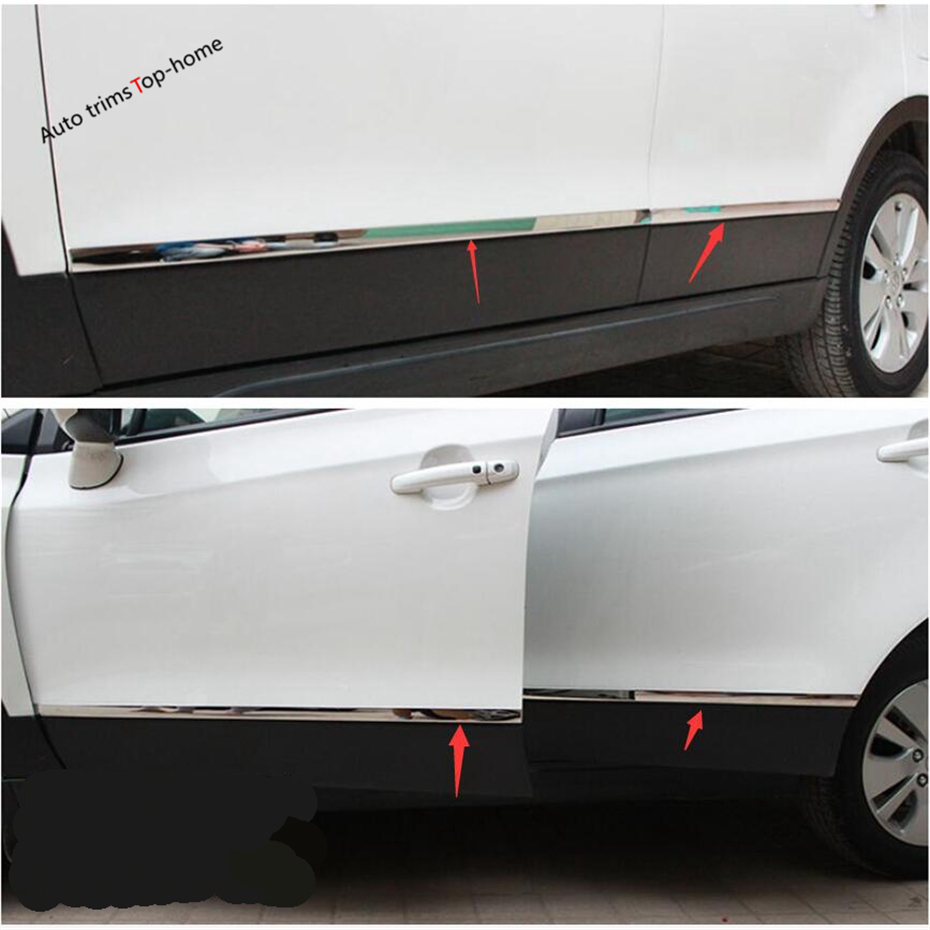 Yimaautotrims Outside Door Molding Bottom Mouldings Strip Streamer Decoration Cover Trim Fit For <font><b>Suzuki</b></font> <font><b>Sx4</b></font> S-cross 2014 - <font><b>2019</b></font> image