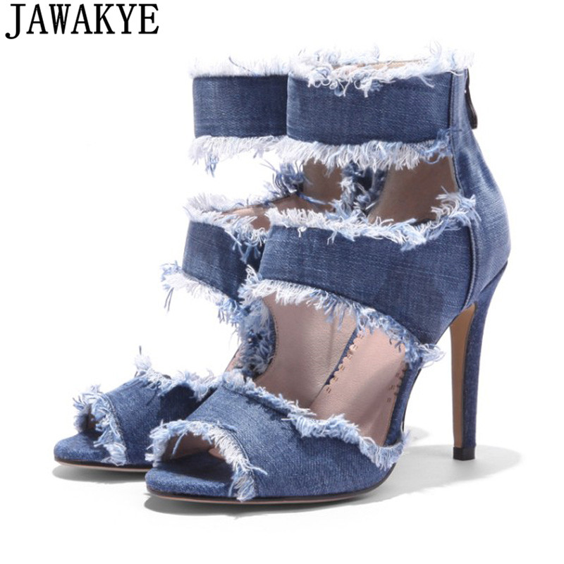New summer shoes ankle boots for women cowboy Blue jeans denim high heels sexy peep-toe tear hollow out sandals ladies plus size цена