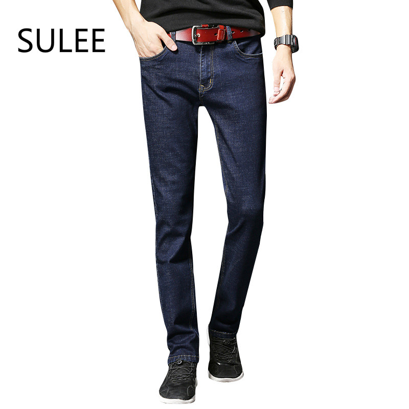 SULEE Brand Men's Jeans extend High Stretch Fashion Black Blue Denim Brand Men Slim Fit Jeans Size 36 38 40  Jean men s cowboy jeans fashion blue jeans pant men plus sizes regular slim fit denim jean pants male high quality brand jeans