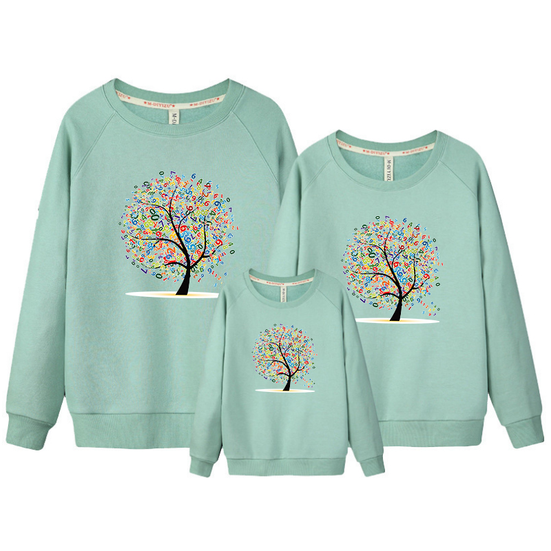 3 pcs/set Family Sweatshirt Tree Top Warm Thick Cotton Black Sweatshirt Couple Mother Fa ...