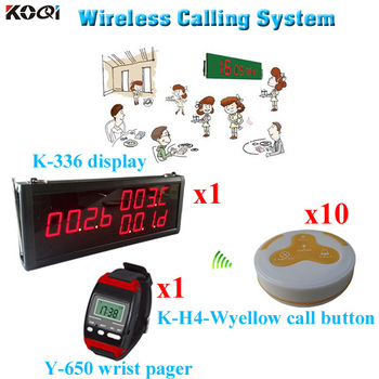 Restaurant Ordering System Hot Sell Popular Service Waiter Calling Buzzer Bell (1 display 1 wrist watch 10 call button)