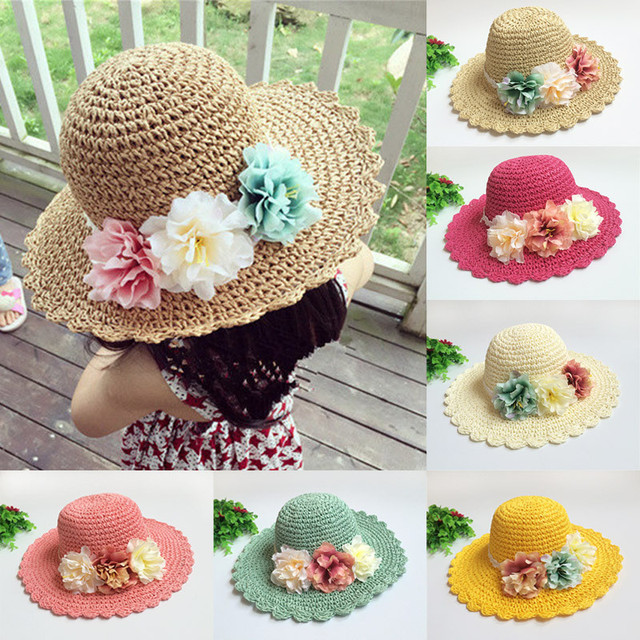 Baby Sun Hat Flower Beach Cap Baby Girls Straw Hats Large Brimmed Hat Infant  Toddler Topee for Holiday Kids Photography Props 29ae8927e9c
