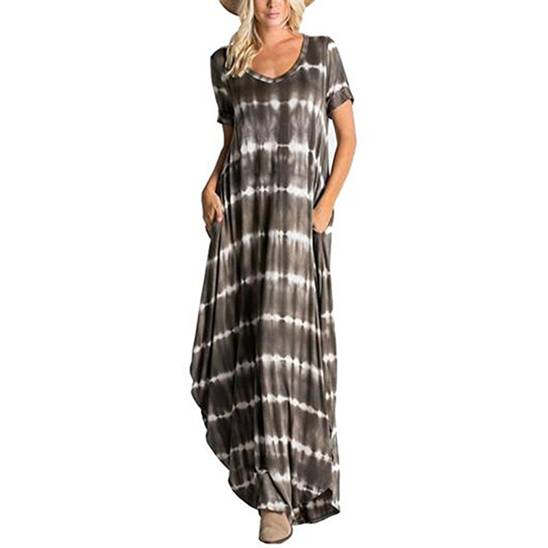 Fashion Comfortable Pocket Female Dress Europe Style New Arrival V neck Striped Print Woman Dress Floor length Loose in Dresses from Women 39 s Clothing