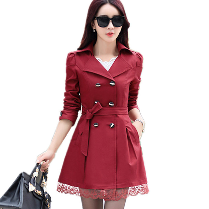 2017 spring section windbreaker long sleeved lace Korean goddess slim size double breasted jacket bow belt long coat female tide