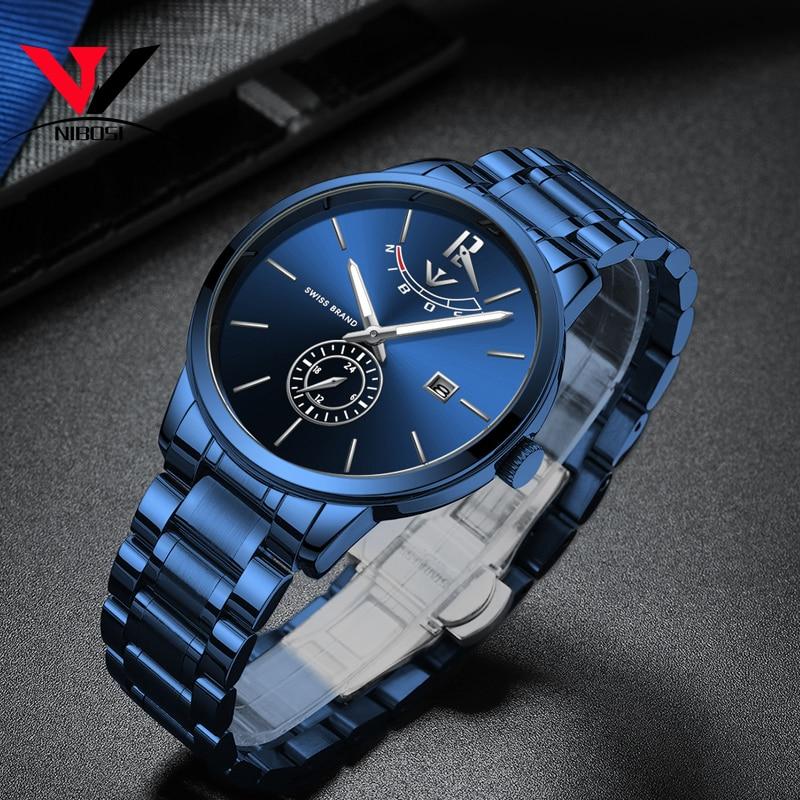 b0bebb17052 Melhor NIBOSI Relógios Relógio Moda Masculina 2018 Marca de Luxo À Prova D  Água Completa Aço Quartz Analógico relógio de Pulso Reloj Hombre 2018  Relógio ...