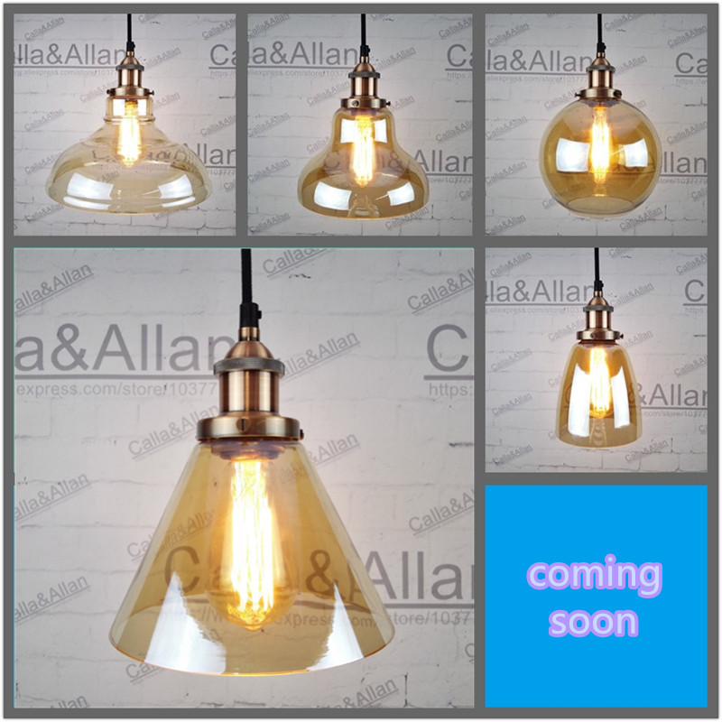 Amber glass shades antique copper Pendant Light Fixture Edison Hanging lamp Retro Industrial Pendant Lamp Loft 110v 220v E27 edison retro industrial pendant lamp light loft hanging ceiling lamp e27 holder restaurant hallway hotel bar home decoration