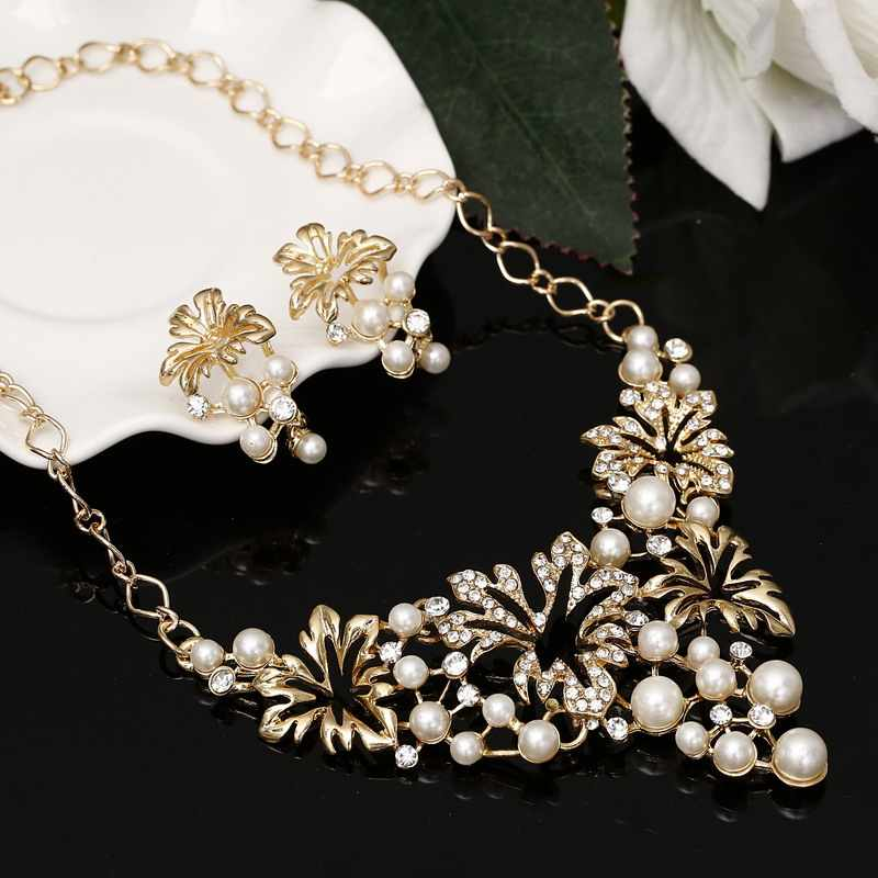 Fashion Simulated Pearl Jewelry Sets Women Crystal Wedding Bridal Flower Gold Silver Chain Pendant Chocke Necklace Earrings Set