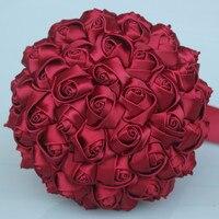 יין אדום פשוט עמיד קצף כדור חתונת כלה זר חתונת פרחים מלאכותיים משי רוז חתונה זר מותאם אישית W223-3