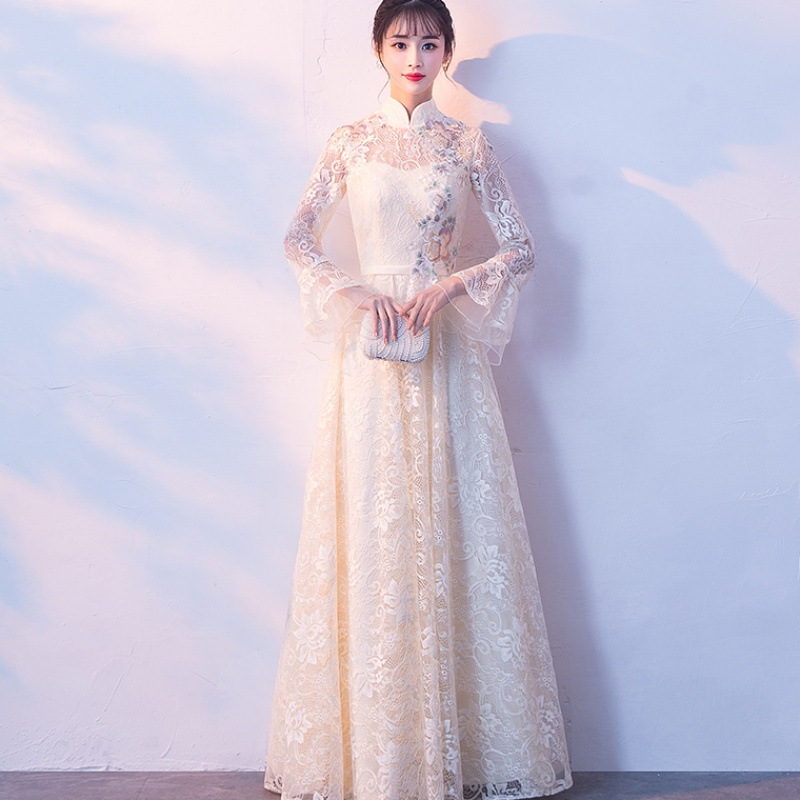 Sexy Chinese Champagne Qipao Female Embroidery Cheongsam Dress Vestidos Chinos Oriental Wedding Gowns Party Dresses Oversize 3XL