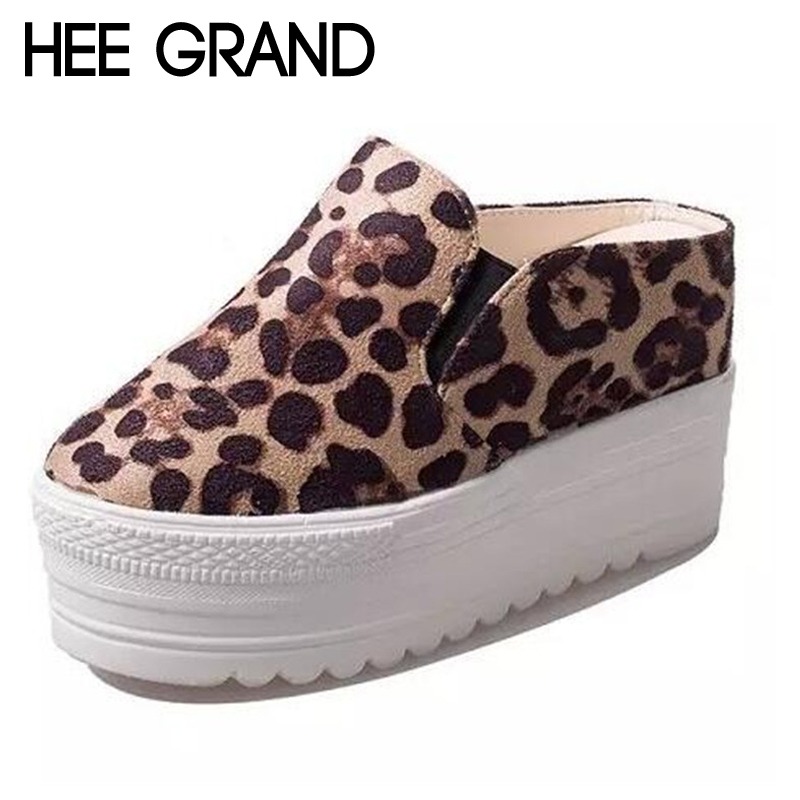HEE GRAND Woman Half Slides Flats Summer Style Fashion Flat Platform Women Sandals Casual Slip on Leopard Shoes XWT577 hee grand lace up gladiator sandals 2017 summer platform flats shoes woman casual creepers fashion beach women shoes xwz4085