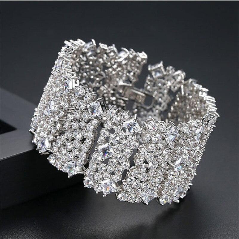 Bracelets de luxe Bracelets largement AAA cubin zircon cristal mode élégant brillant femmes/fille bracelets & Bracelets cadeau bijoux