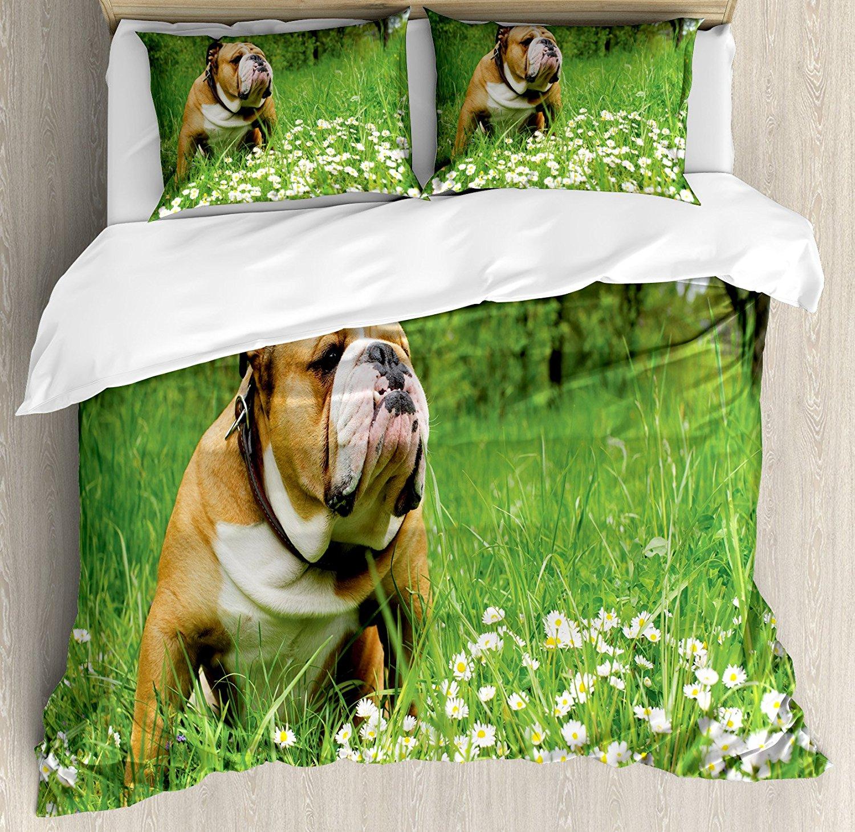 Bulldog inglese Copripiumino Set Parco in Primavera con Margherite e Alberi In Fiore e Bulldog 4 Pezzo Biancheria Da Letto Set