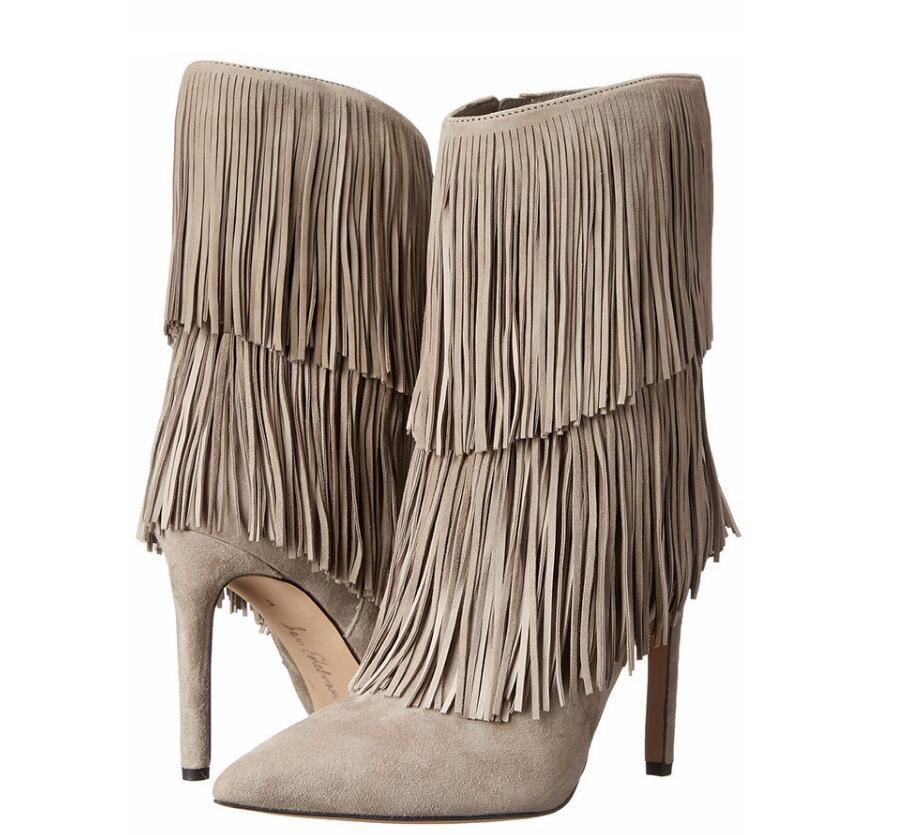 Talon Fringe Pointu Mi Chaussures 46 Street 3 1 Stiletto Brun Bottes Haute Noir Femmes Style 34 Bout 2 color Color D'hiver Sexy mollet Gland color 8A0qXwp