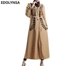 2017 Muslim Dresses Fashion Brand Abaya Dress Robe Plus Size Robe Knitting Print Muslim Dress Casual Dresses Vintage Kaftan#D410