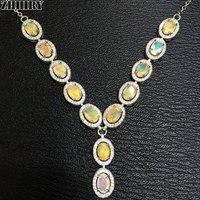Натуральный огненный опал Цепочки и ожерелья из натуральной Gem Цвет камень стерлингового серебра 925 Для женщин Фантастический ювелирные из