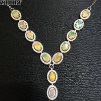 Natural Fire Opal Necklace Genuine Gem Color Stone 925 Sterling Silver Women Fantastic Jewelry
