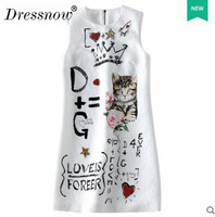 Brief Woman Summer Dress Fashion A Line Cat Pattern Sleeveless Clothes Embroidery O Neck White Cute Dress Above Knee Mini