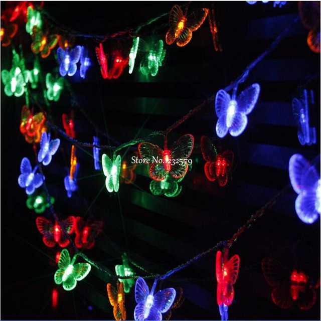 2m 20 leds butterfly led string lights decoration lights led battery christmas lights holiday wedding party