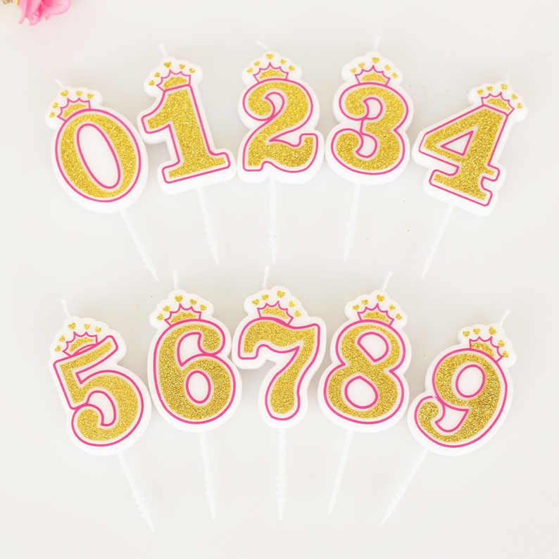 1 ชิ้น Shinning Gold สีชมพู/Blue Crown เทียนวันเกิดเด็กหญิงวันเกิด Party จำนวนเทียนตกแต่งเค้ก (0-9)