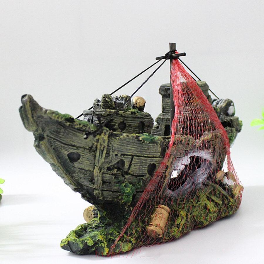Pirate Shipwreck Aquarium Ornament Wreck Boat Sunk Ship Fish Tank