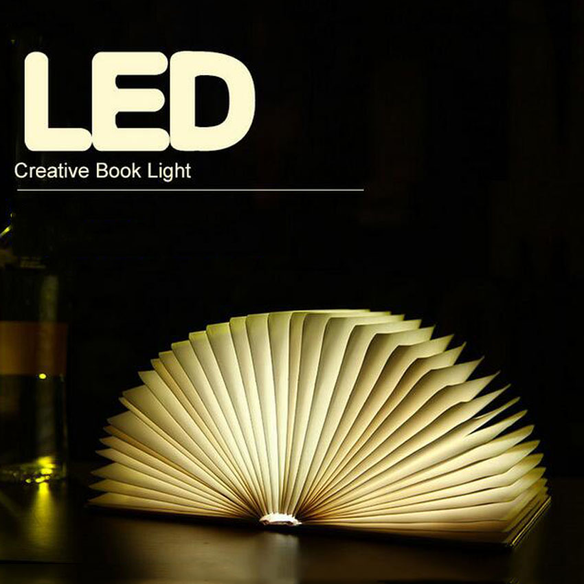 Creative page turning four-color books Nightlight USB charging LED Folding Book Light Decorative head of the bed table lamp creative flip book page led nightlight