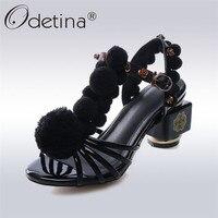 Odetina עקבים גבוהים T-רצועת עור אמיתי 2018 אופנה חדשה קיץ יוקרה נשים נעלי סנדלי העקב מרובע הבוהן גדולה גודל 43