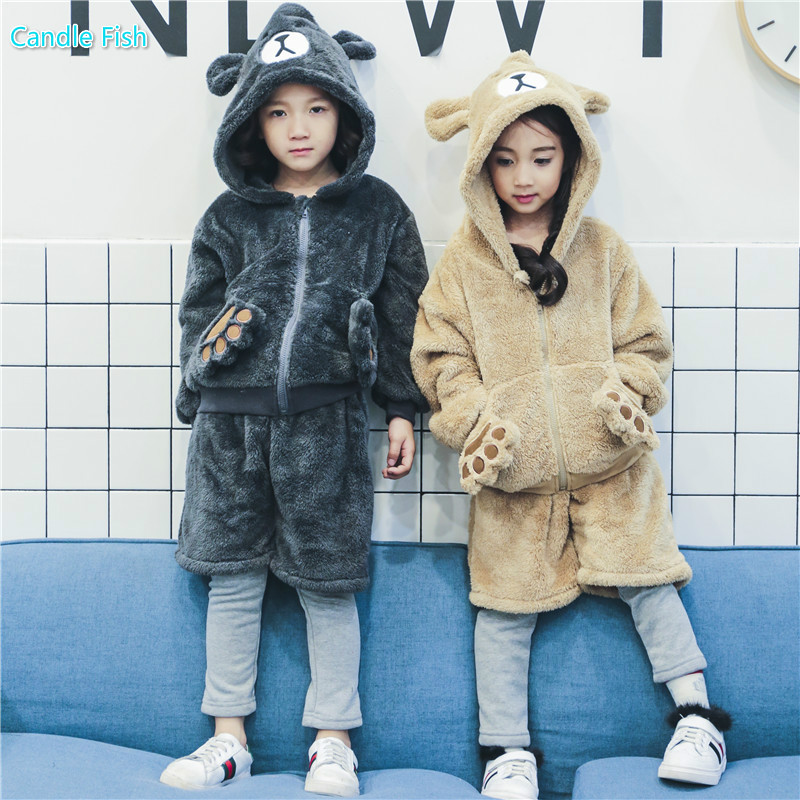 Kids 2017 autumn and winter new boys and girls cartoon suit girl cute thick sweater with fake  pants two sets of bear set 2015 new autumn winter warm boys girls suit children s sets baby boys hooded clothing set girl kids sets sweatshirts and pant