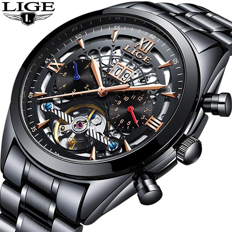 2019 LIGE Top Marca de Luxo do Relógio Dos Homens Clássicos Preto fantasma Água Oco Relógio Mecânico Dos Homens Relógios Em Aço Inoxidável À Prova D' Água