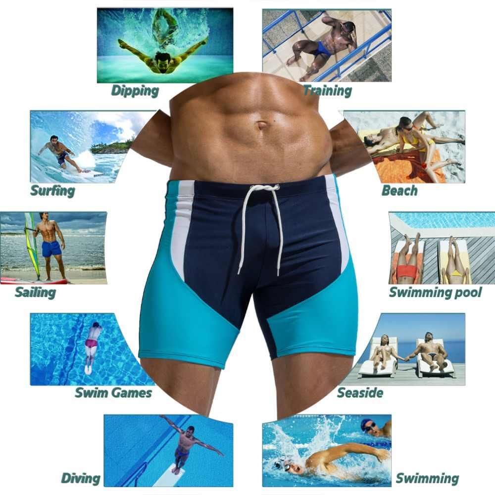 جديد الرجال ملابس السباحة المايوه طباعة الأمواج مجلس سراويل بوكسر جذوع طويلة مثير شاطئ سروال سباحة قصير بواسطة Aimpact AM8115 AM8113 E408