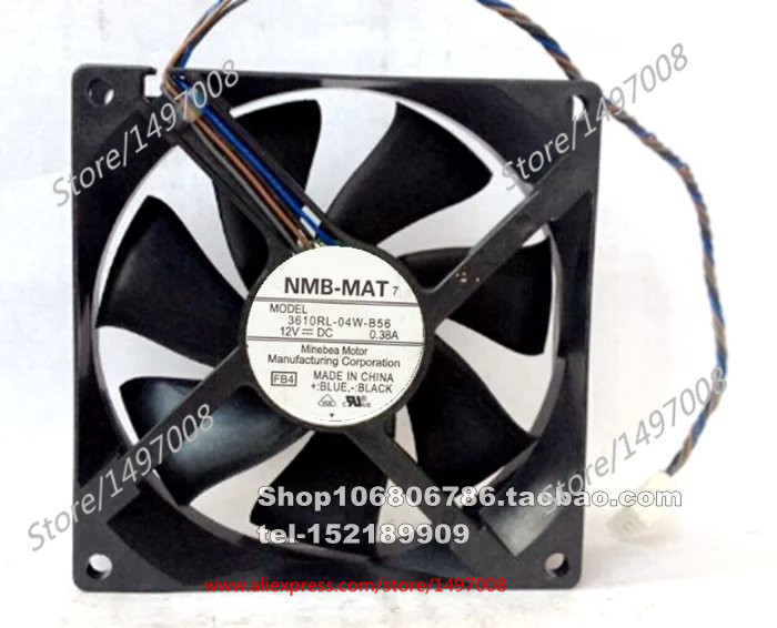 NMB-MAT 3610RL-04W-B56, FB4 DC 12V 0.38A     90x90x25mm Server Square  fan nmb mat 3110kl 04w b49 b02 b01 dc 12v 0 26a 3 wire server square fan