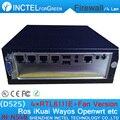 4 puertos lan gigabit intel atom d525 de doble núcleo de cuatro hilos 1.8 ghz servidor de seguridad de hardware