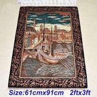 Mingxin 2x3ft Boat Castle Antique Ancient Handmade Silk Carpet Pray Rug For Room Mat Turkey Design