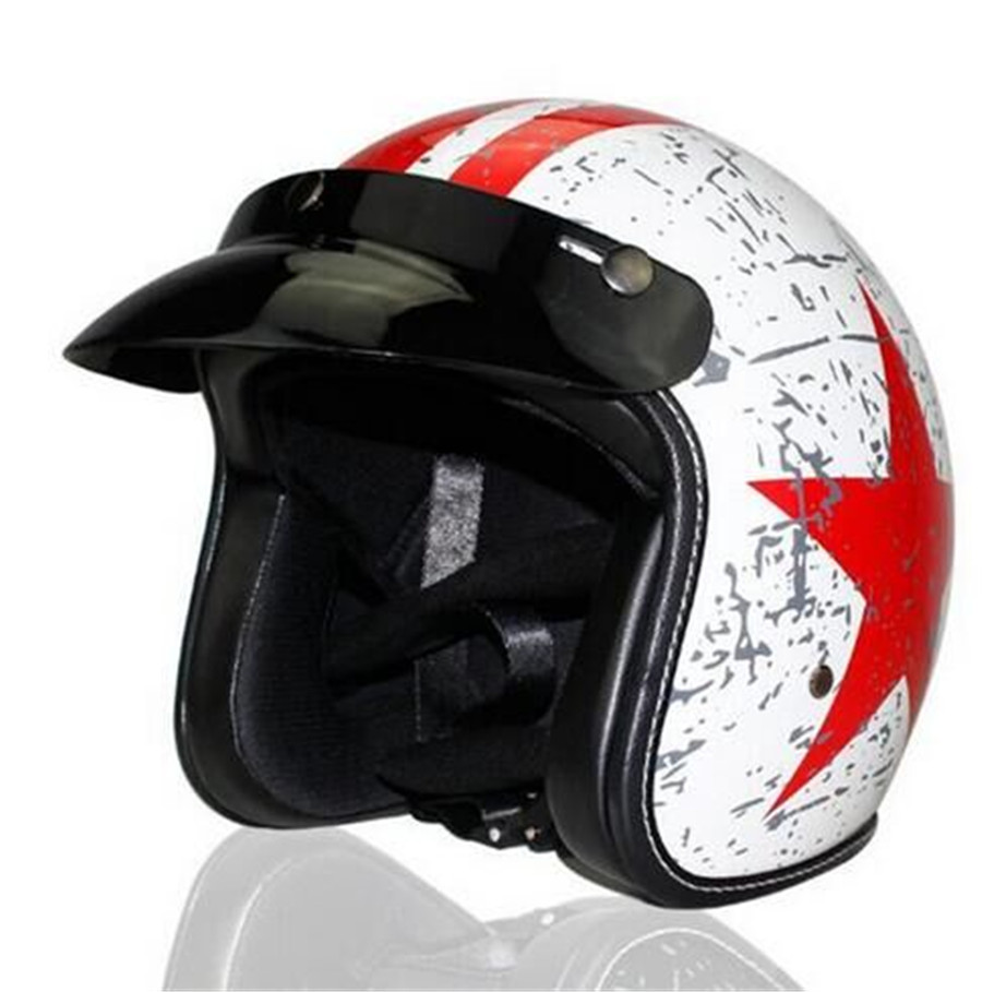 Motorcycle Open Face Helmet For Moped Scooter DOT Approved Stars and Stripes American Patriot (L) Matte Black XL